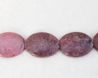 "8"" Strand Rhodonite Puffy Oval Beads"
