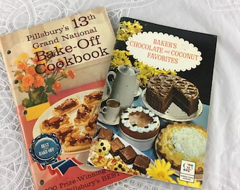 Lot of 2 Cookbooklets: Pillsbury's 13th Grand National Bake-Off; Baker's Chocolate and Coconut Favorites / cookbook / desserts / baking