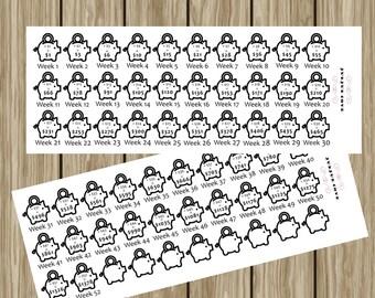 Planner Stickers - 52 week money saving stickers - biweekly money saving stickers