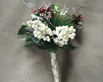 Enchanted Frosty  Holiday Berries and Pinecones Silver Gold Red Green Unique Wedding Formal Wrap Bouquet Floral Arrangement Hostess gift