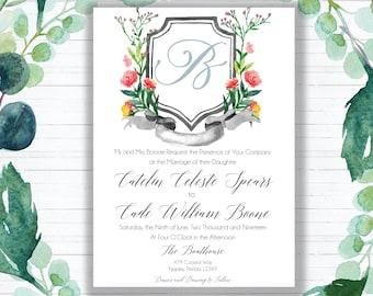 Personalized Custom Monogrammed Crest Wedding Invitation {DIGITAL DOWNLOAD}