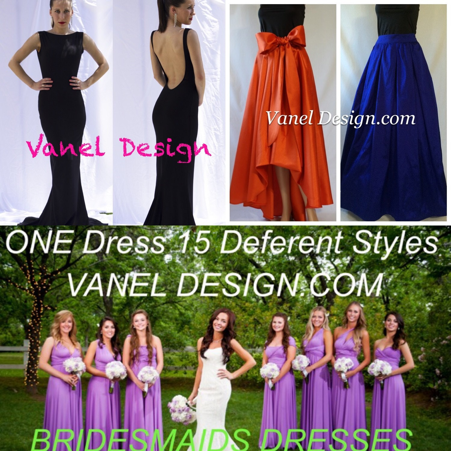 Bridesmaid dress infinity convertible formal cocktail mermaid zoom ombrellifo Images