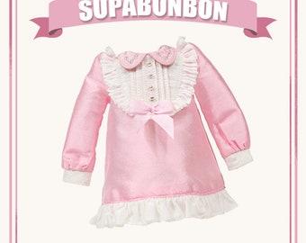 Doll Dress – SUPABONBON Girlish Style – Blythe Dupioni Silk One-piece Pink Dress - Long / Short Sleeve