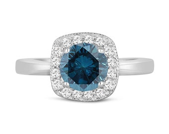 Fancy Blue Diamond Engagement Ring 14K White Gold 1.35 Carat Halo Pave Handmade
