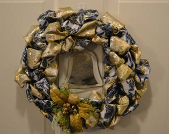 """Gold and Blue Christmas Holiday Bell Wreath 14"""""""