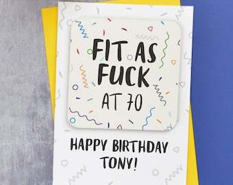 70th birthday card etsy personalised 70th birthday card with coaster adult humour card for 70th birthday fit as bookmarktalkfo Image collections