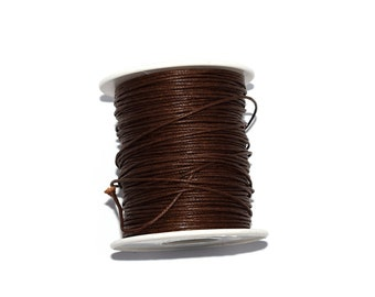 20 / 50 / 100 m cotton wax 1 mm or 2 mm or 3 mm dark brown / chocolate