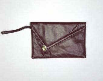vintage leather clutch purse with built-in mirror