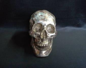 Human Skull Cranium Antique Sculpture Brass and Silver