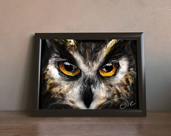 Large owl print // A3 owl print // owl gifts // eagle owl painting // owl print // owl decor // eagle owl art // birds of prey