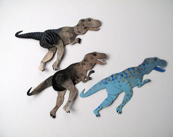 Tyrannosaurus Rex / Paper Doll Articulated / Hinged Beasts Series