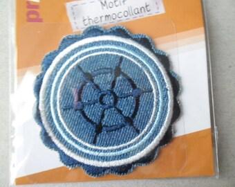 x 1 applique patch depicting a bar of boat blue white 6.6 cm