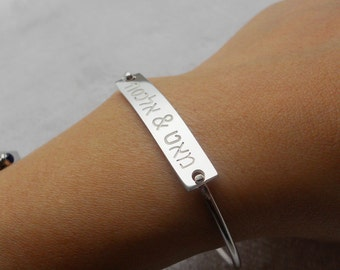 Hebrew Bracelet,Hebrew Bangle,Silver Hebrew Name Bracelet,Personalized Hebrew Bar Bracelet,Engraved Bracelet Jewelry,Hebrew Name Bangle