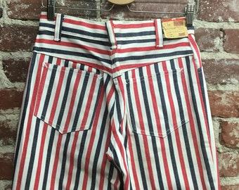 "Vintage Men's NOS Dead Stock Seventies 1970s Striped Mod Jeans by Fenton 30"" waist by 35"" inseam"