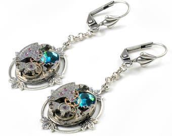 Vintage Textured Watch Movement n Crystal Steampunk Silver Earrings