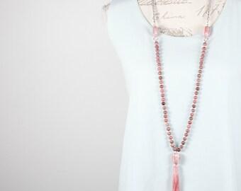 Long summer tassel necklace / Pink tassel necklace / Long rose rhodonite stone tassel necklace