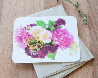 Flowers Blank Cards and Envelopes, Pink and Red Floral Set of Cards