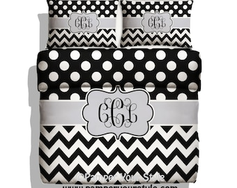 Polka dot and Chevron Duvet Cover or Comforter with Pillow Case(s) - Black, White and Gray Monogrammed Bedding - Personalized Daybed Bedding