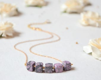Necklace pink marble, geometric necklace-stone cubes, pink and gold necklace, minimalist and discreet necklace