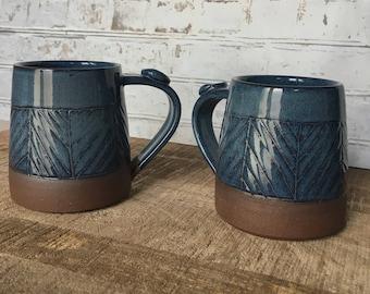 Wheel thrown pottery mug, blue carved mug, rustic clay mug, blue ceramic mug - made to order
