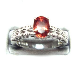 Red labradorite sterling silver ring