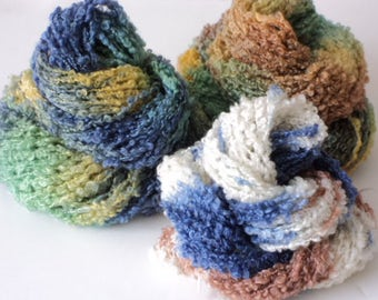 Boucle Bundle, Hand Dyed, Worsted, Yarn, Blue, Yellow, Green, Brown, White
