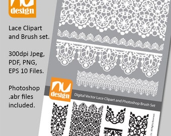 Pretty Digital Vector Lace Clipart and Photoshop Brush Set - 300dpi PNG, Jpeg, PDF & EPS Files. Ideal for Scrapbooking projects.