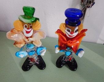 Zwei Murano Glas Clowns - Figurinen - Sechziger Jahre - Sammlerstücke