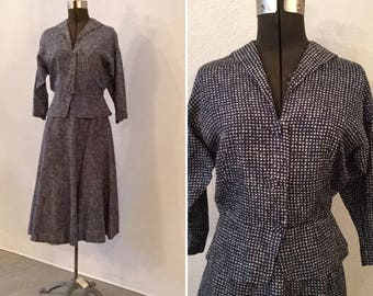 Tobie suit   Vintage navy and cream suit   1940s rayon jacket and skirt