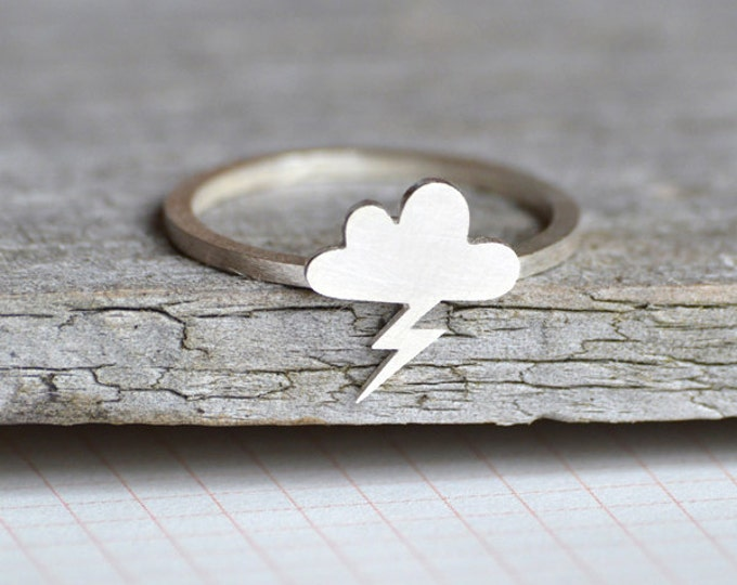 Lightning Cloud Ring In Sterling Silver, Weather Forecast Ring, Handmade In England