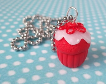 Red Velvet Cupcake ( cupcake necklace red cupcake necklace cupcake jewelry polymer clay kawaii miniature food cupcake pendant food jewelry )