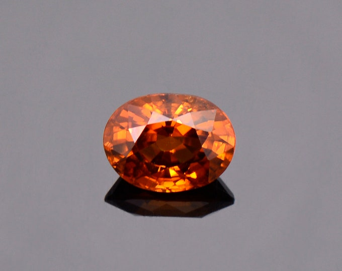 Beautiful Orange Zircon Gemstone from Tanzania, 2.12 cts., 8x6 mm. Oval Cut.