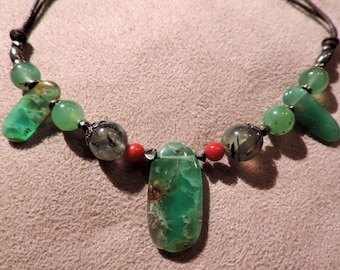 Necklace gemstones: Chrysoprase, Coral tainted, Prehnite and Pyrite #CCPP.