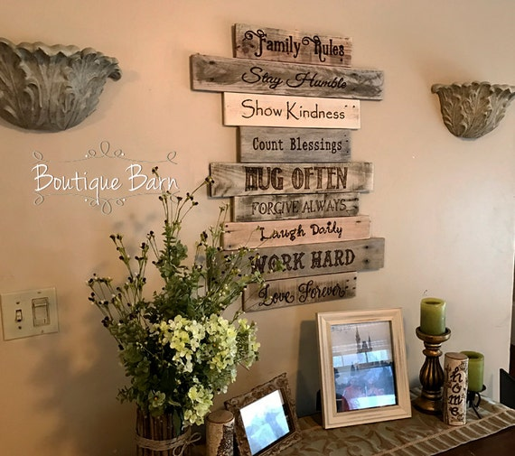 Home decor rustic family wall sign