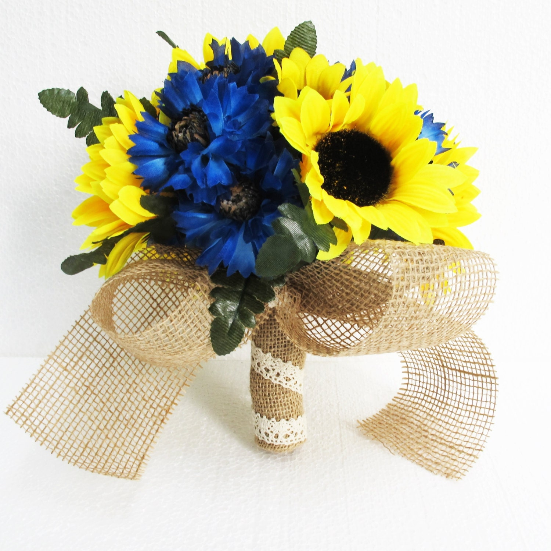 Sunflower Wedding Bouquet Ideas: Sunflowers Wedding Bouquet Bridesmaid Bouquets Blue Cornflower