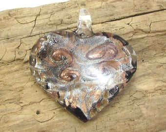Heart Pendant, Glass Heart Pendant, 52x48mm Heart Pendant, Silver and Copper Swirled Heart Pendant, Necklace Supplies, Item 1412p