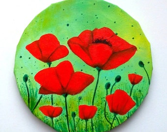 Painted poppies - poppies painting hand - painting poppies on Brown background