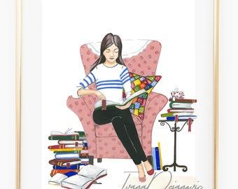 Bookwarm Cute Fashion Illustration Print
