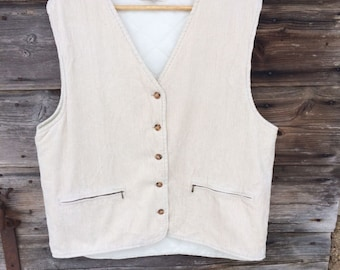 Women's Cream-colored Corduroy Fitted Vest Everyday  Waistcoat Extra Large Size