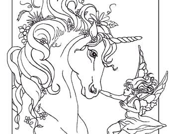 ADULT COLORING PAGE; fantasy, unicorn, fairy, digital download, original art,