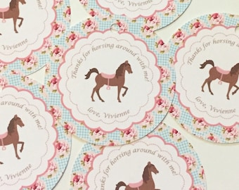 SHABBY CHIC HORSE Birthday Party Favor Tags or Stickers 12 {One Dozen} - blue pink