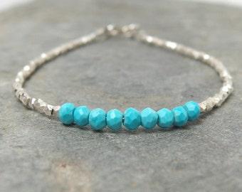 Turquoise bracelet stacking bracelet December birthstone Turquoise jewelry  Gemstone beaded bracelet Delicate bracelet Layering Bracelet,