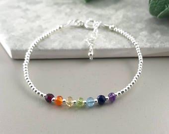 Dainty Chakra Bracelet, gemstone bracelet, stacking bracelet, rainbow bracelet, thin bracelet, chakra jewellery, balancing bracelet