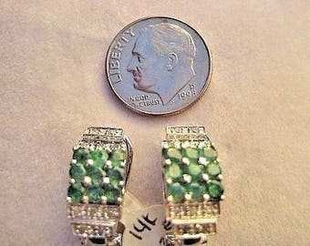 Art Nouveau Style Emerald and Diamond Earrings  in 14K white gold