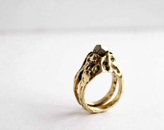 Pyrite ring, stone ring, carved ring, boho ring, engagement ring, crystal ring, stone ring, gemstone ring, brass ring, sterling silver ring