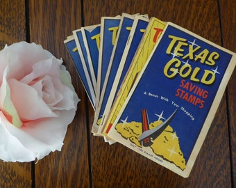 NINE Vintage Texas Gold Saving Stamp Books with Stamps