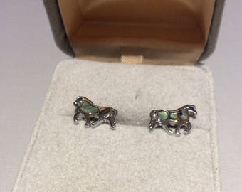 Tiny Mother Of Pearl Horse Earrings