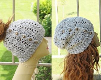 Crochet Slouchy Hat Pattern, Crochet Hat Pattern, Crochet Messy Bun Hat Pattern, Slouchy Hat Crochet Pattern, 2 options