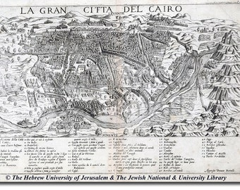 Reproduction of a Vintage Map of Cairo, Egypt from 1570 - Fantastic Photo Poster Print - Old Archive Cartography