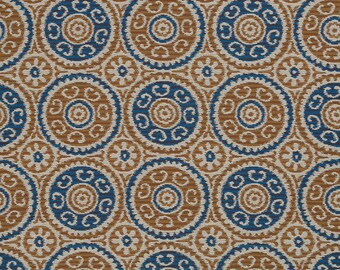 Navy Blue Copper Upholstery Fabric - Navy Blue Suzani Fabric for Furniture - Heavyweight Textiles - Navy Blue Copper Geometric Pillows